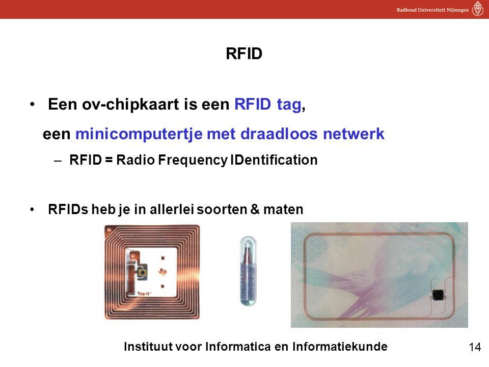 14 Instituut voor Informatica en Informatiekunde RFID •Een ov-chipkaart is een RFID tag, een minicomputertje met draadloos netwerk –RFID = Radio Frequ