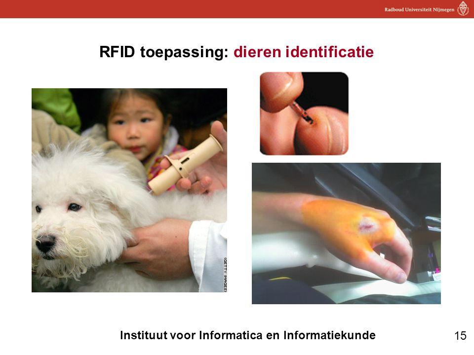 15 Instituut voor Informatica en Informatiekunde RFID toepassing: dieren identificatie