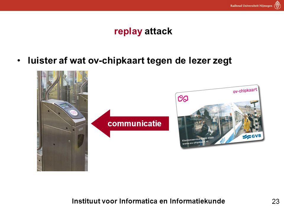 23 Instituut voor Informatica en Informatiekunde replay attack •luister af wat ov-chipkaart tegen de lezer zegt communicatie