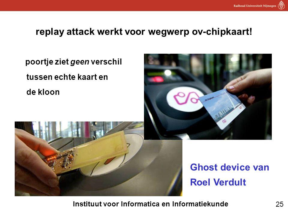 25 Instituut voor Informatica en Informatiekunde replay attack werkt voor wegwerp ov-chipkaart! poortje ziet geen verschil tussen echte kaart en de kl