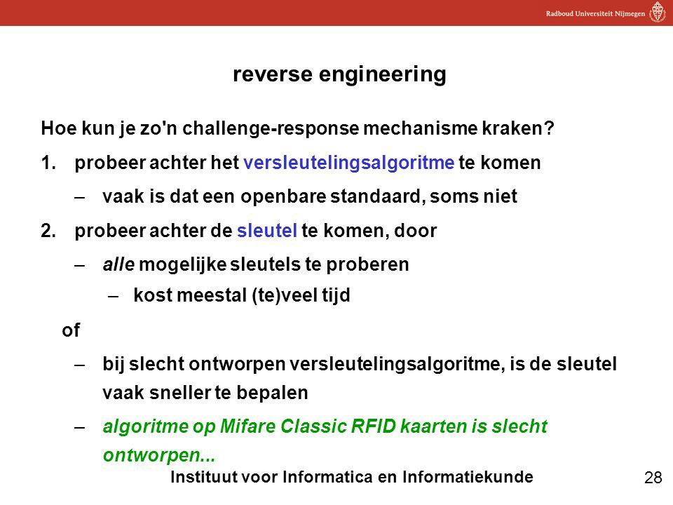 28 Instituut voor Informatica en Informatiekunde reverse engineering Hoe kun je zo'n challenge-response mechanisme kraken? 1.probeer achter het versle