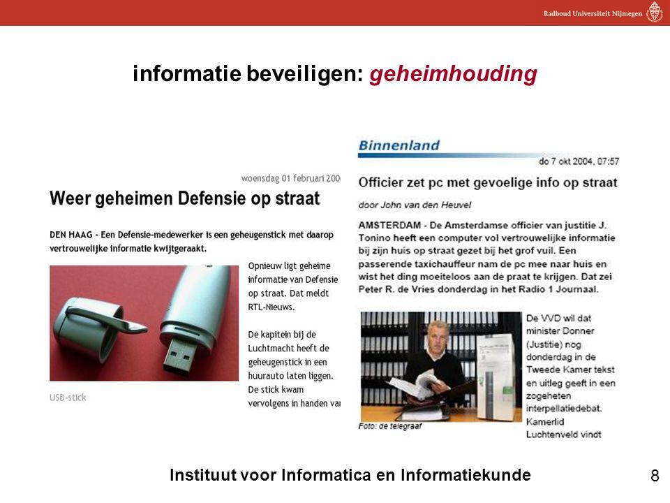 8 Instituut voor Informatica en Informatiekunde informatie beveiligen: geheimhouding