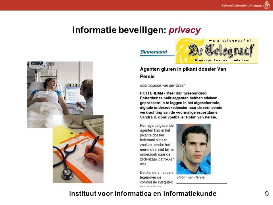 10 Instituut voor Informatica en Informatiekunde •De beste (enige?) manier om te kijken of beveiliging goed is: –probeer de beveiliging te breken –denk als een aanvaller