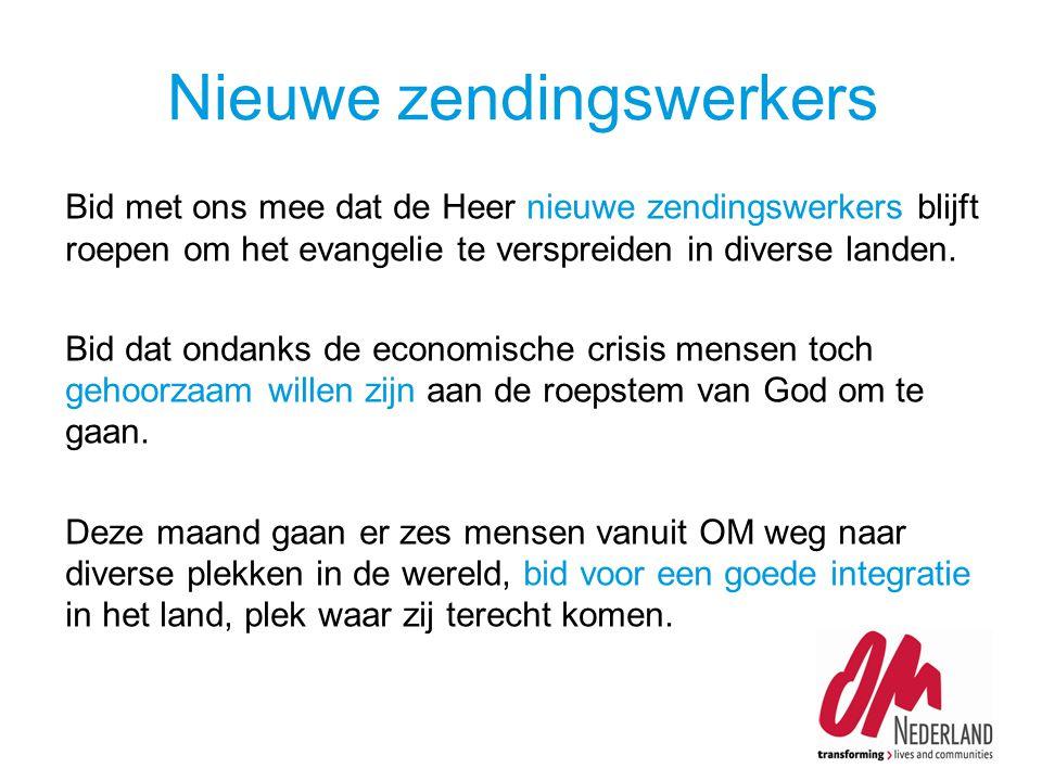 Bid met ons mee dat de Heer nieuwe zendingswerkers blijft roepen om het evangelie te verspreiden in diverse landen.