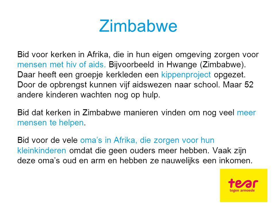 Bid voor kerken in Afrika, die in hun eigen omgeving zorgen voor mensen met hiv of aids.