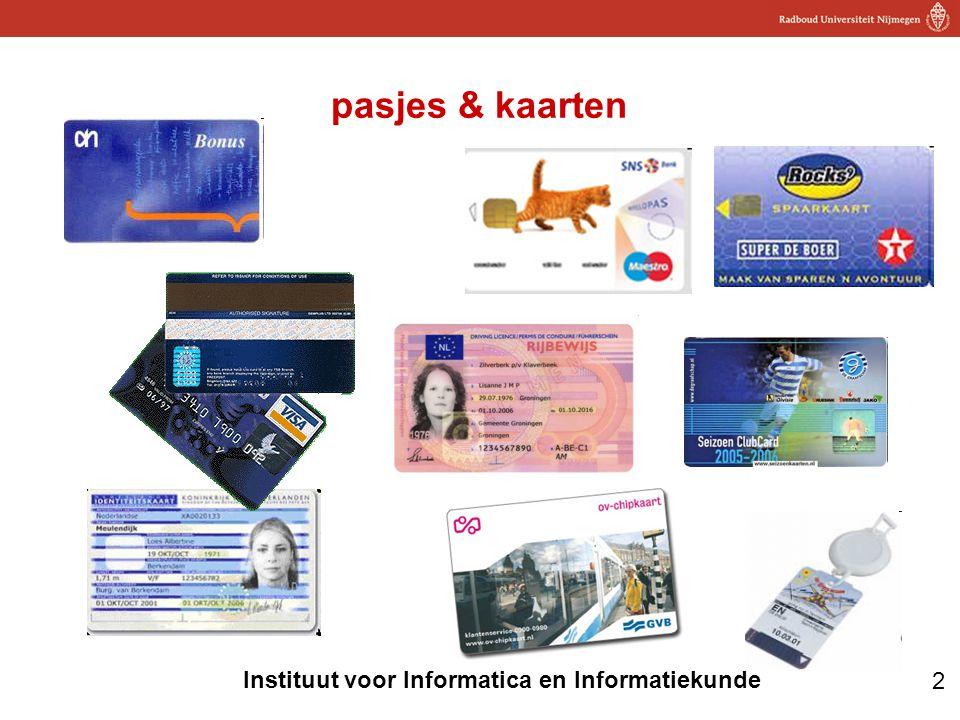 2 Instituut voor Informatica en Informatiekunde pasjes & kaarten