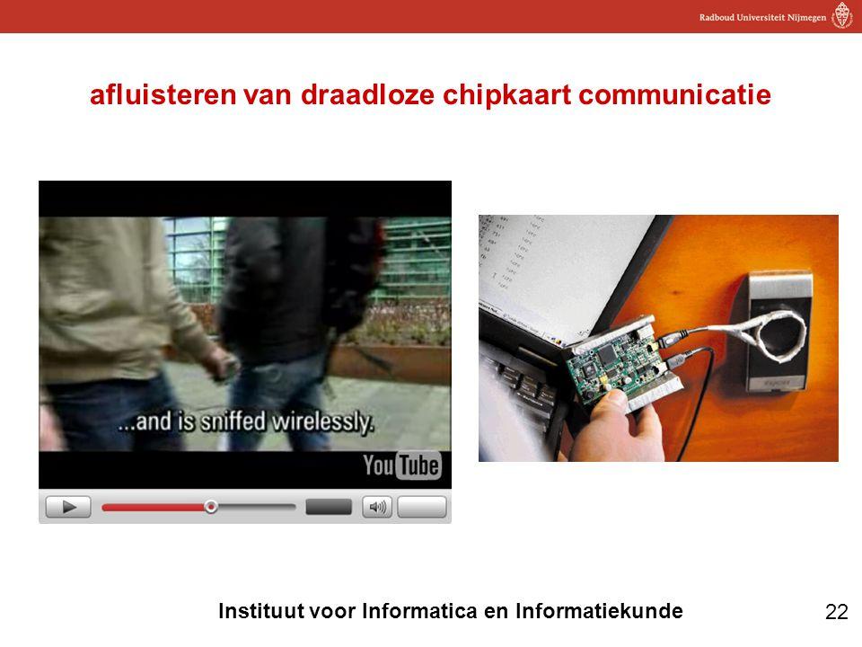 22 Instituut voor Informatica en Informatiekunde afluisteren van draadloze chipkaart communicatie