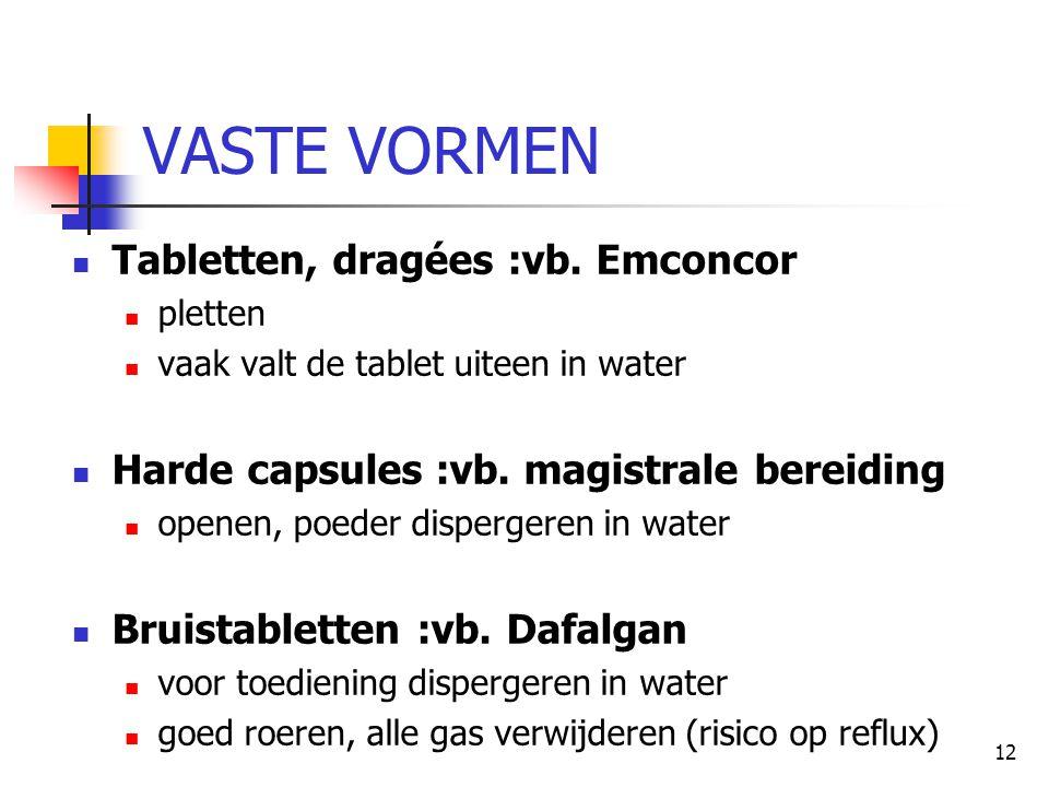12 VASTE VORMEN  Tabletten, dragées :vb. Emconcor  pletten  vaak valt de tablet uiteen in water  Harde capsules :vb. magistrale bereiding  openen