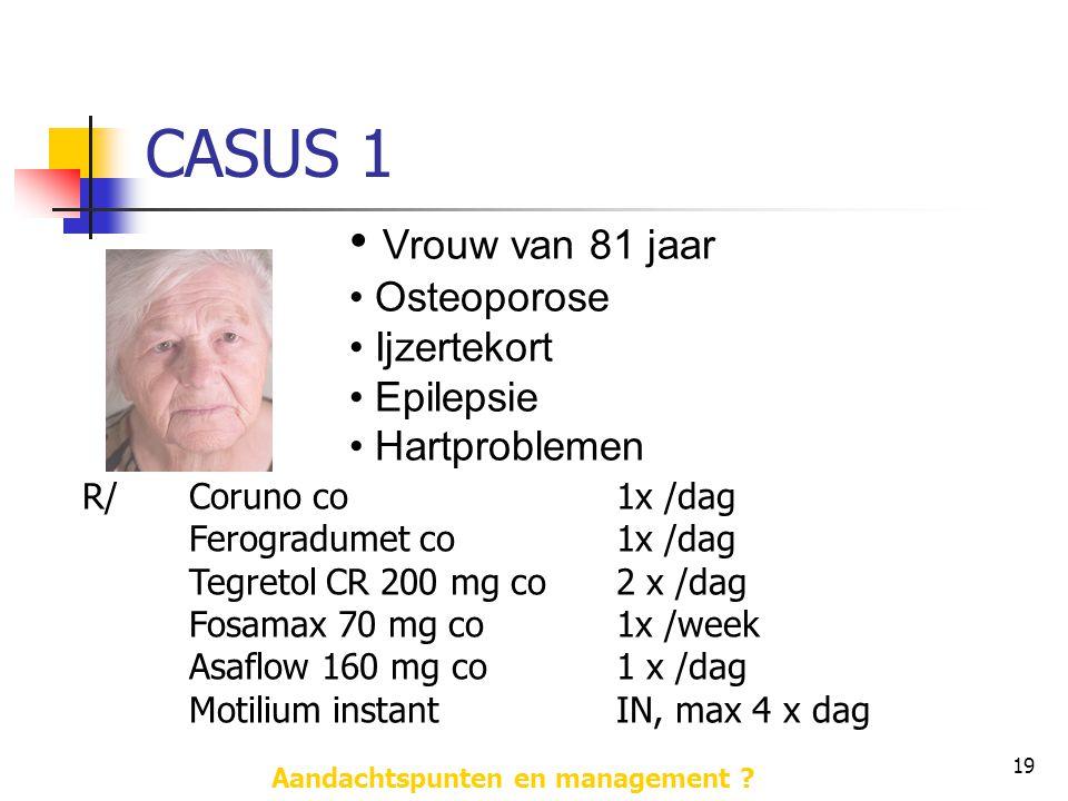 19 CASUS 1 • Vrouw van 81 jaar • Osteoporose • Ijzertekort • Epilepsie • Hartproblemen R/Coruno co 1x /dag Ferogradumet co 1x /dag Tegretol CR 200 mg