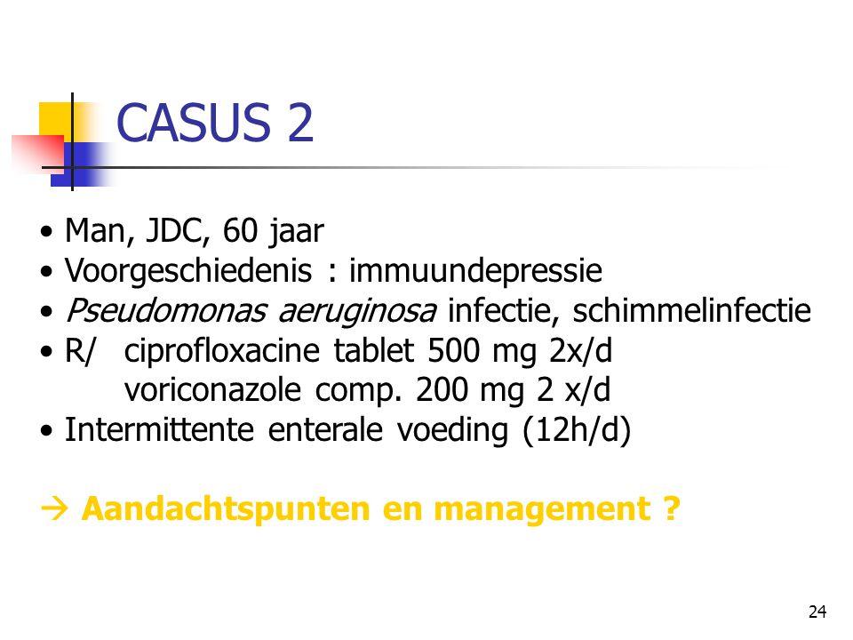 24 CASUS 2 • Man, JDC, 60 jaar • Voorgeschiedenis : immuundepressie • Pseudomonas aeruginosa infectie, schimmelinfectie • R/ ciprofloxacine tablet 500