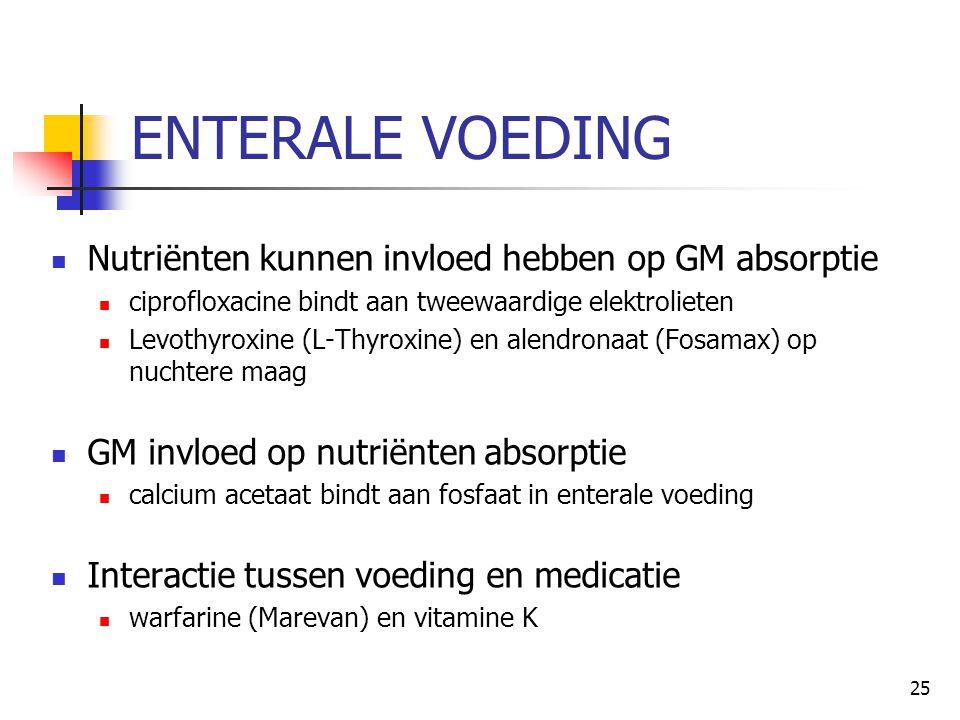 25 ENTERALE VOEDING  Nutriënten kunnen invloed hebben op GM absorptie  ciprofloxacine bindt aan tweewaardige elektrolieten  Levothyroxine (L-Thyrox
