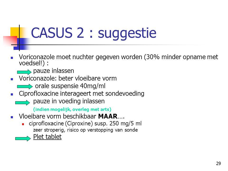 29 CASUS 2 : suggestie  Voriconazole moet nuchter gegeven worden (30% minder opname met voedsel!) : pauze inlassen  Voriconazole: beter vloeibare vo