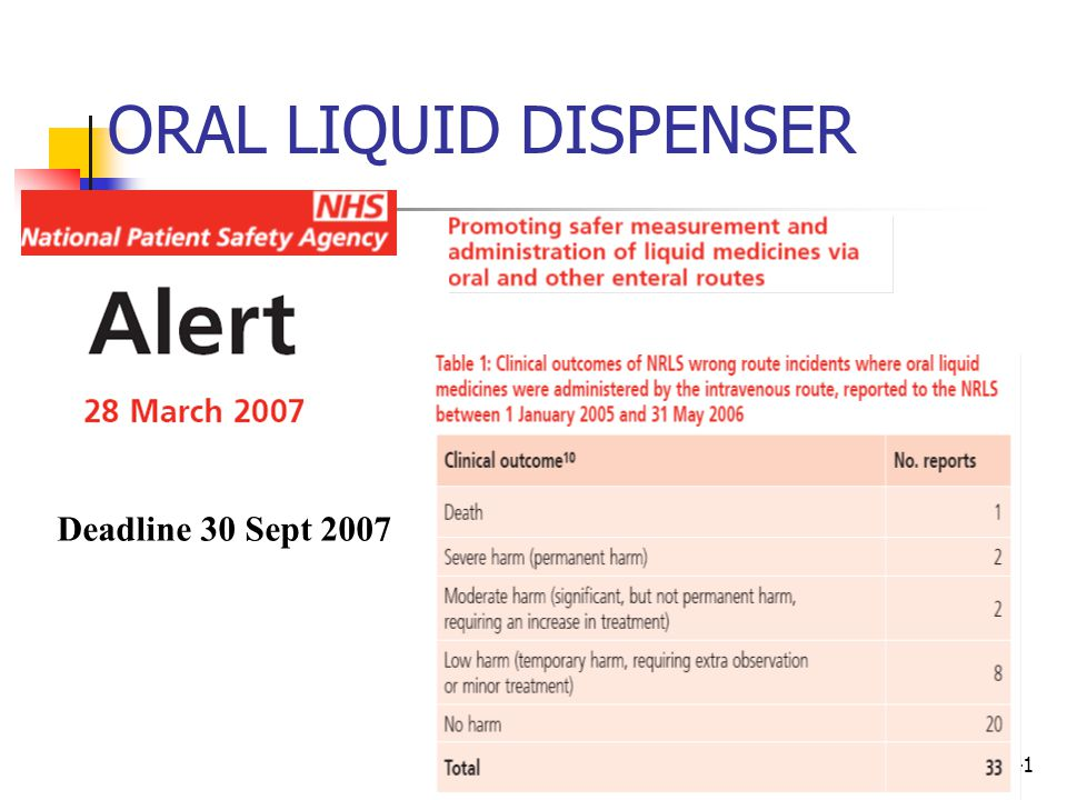 41 ORAL LIQUID DISPENSER Deadline 30 Sept 2007