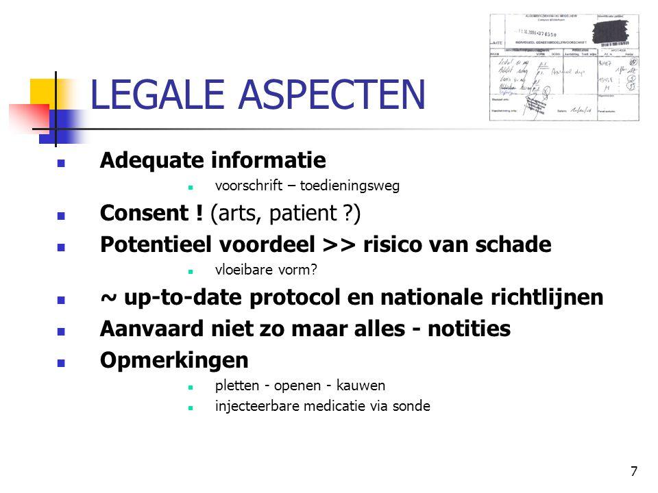 7 LEGALE ASPECTEN  Adequate informatie  voorschrift – toedieningsweg  Consent ! (arts, patient ?)  Potentieel voordeel >> risico van schade  vloe