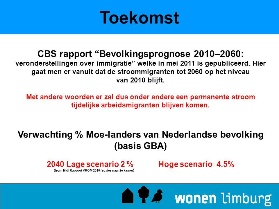 """Toekomst CBS rapport """"Bevolkingsprognose 2010–2060: veronderstellingen over immigratie"""" welke in mei 2011 is gepubliceerd. Hier gaat men er vanuit dat"""