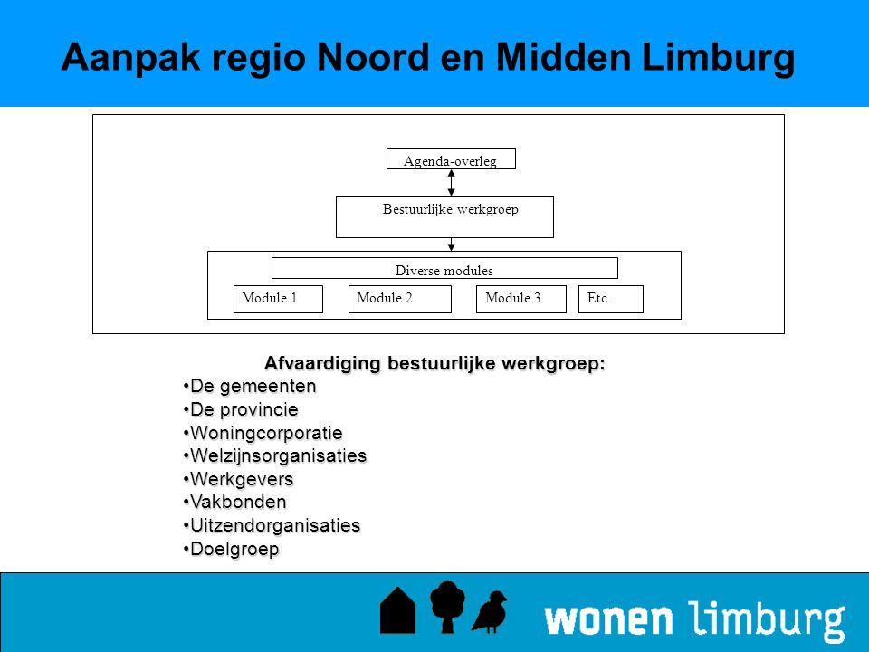 Aanpak regio Noord en Midden Limburg Afvaardiging bestuurlijke werkgroep: •De gemeenten •De provincie •Woningcorporatie •Welzijnsorganisaties •Werkgev