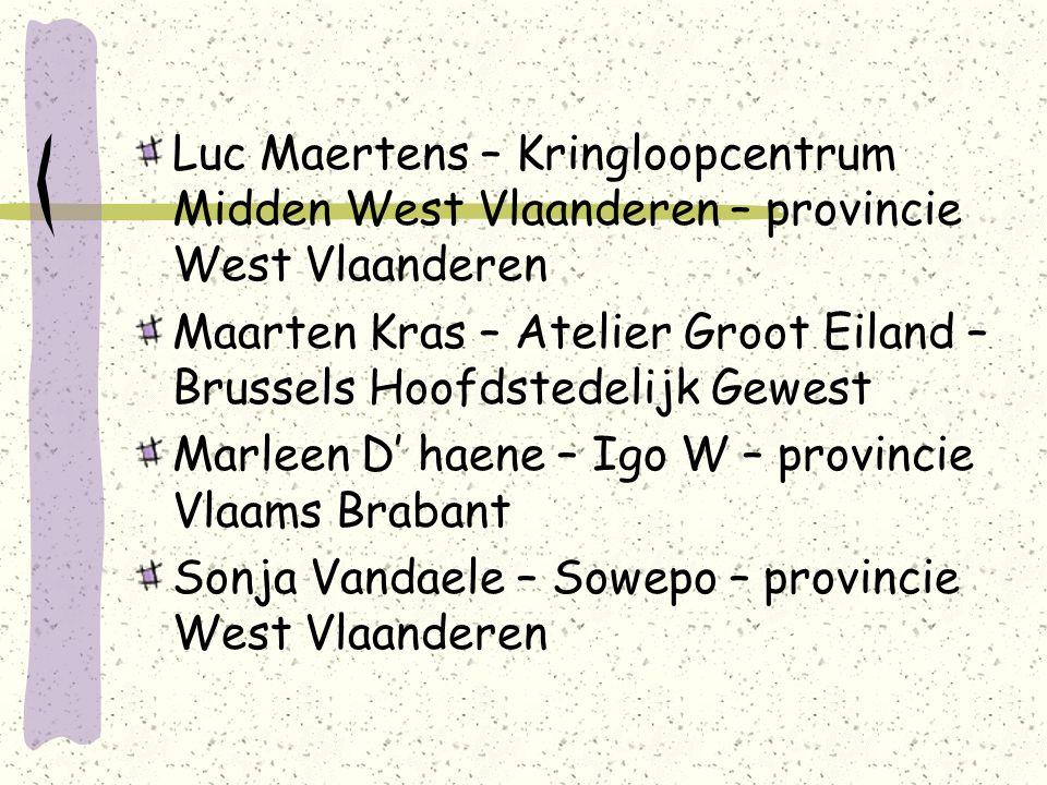 Luc Maertens – Kringloopcentrum Midden West Vlaanderen – provincie West Vlaanderen Maarten Kras – Atelier Groot Eiland – Brussels Hoofdstedelijk Gewest Marleen D' haene – Igo W – provincie Vlaams Brabant Sonja Vandaele – Sowepo – provincie West Vlaanderen