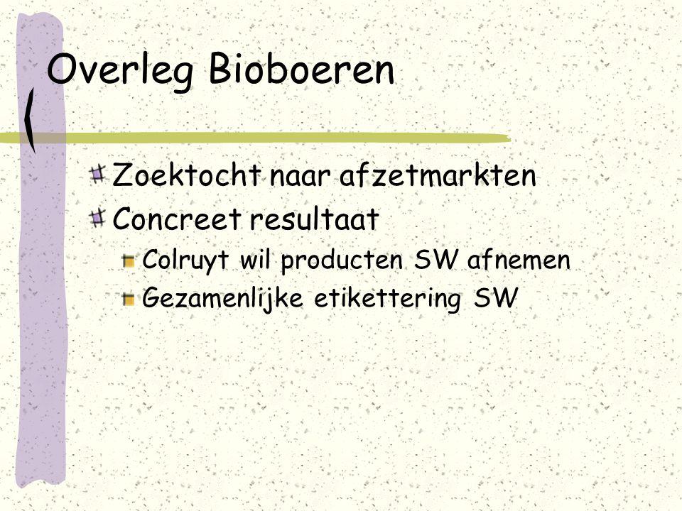 Overleg Bioboeren Zoektocht naar afzetmarkten Concreet resultaat Colruyt wil producten SW afnemen Gezamenlijke etikettering SW