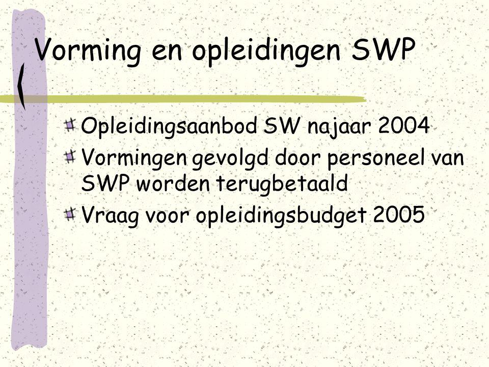 Vorming en opleidingen SWP Opleidingsaanbod SW najaar 2004 Vormingen gevolgd door personeel van SWP worden terugbetaald Vraag voor opleidingsbudget 2005
