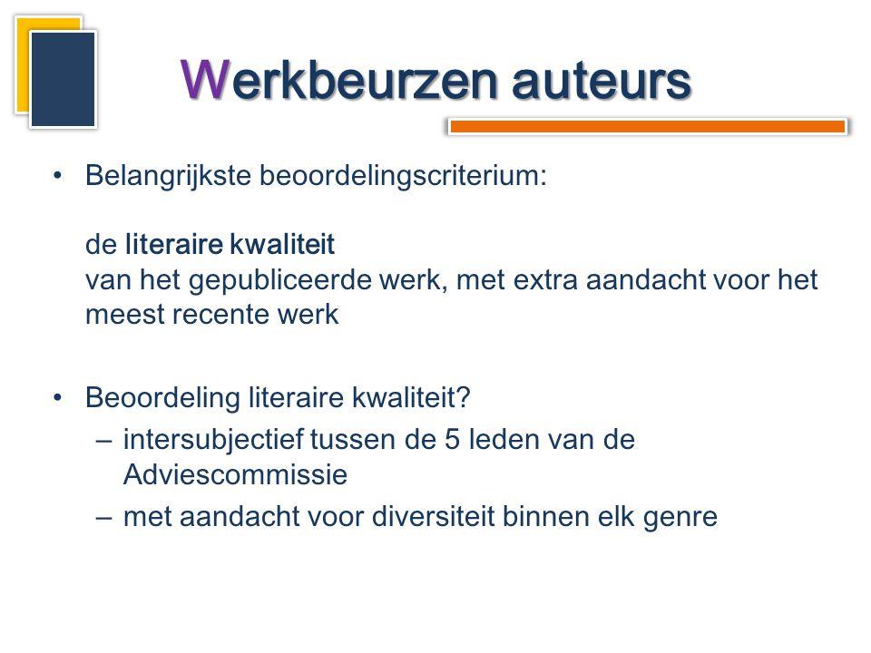 •Belangrijkste beoordelingscriterium: de literaire kwaliteit van het gepubliceerde werk, met extra aandacht voor het meest recente werk •Beoordeling literaire kwaliteit.