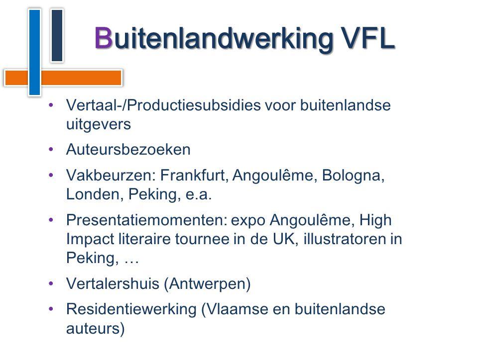 •Vertaal-/Productiesubsidies voor buitenlandse uitgevers •Auteursbezoeken •Vakbeurzen: Frankfurt, Angoulême, Bologna, Londen, Peking, e.a.