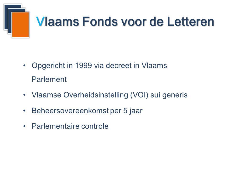 Vlaams Fonds voor de Letteren •Opgericht in 1999 via decreet in Vlaams Parlement •Vlaamse Overheidsinstelling (VOI) sui generis •Beheersovereenkomst per 5 jaar •Parlementaire controle