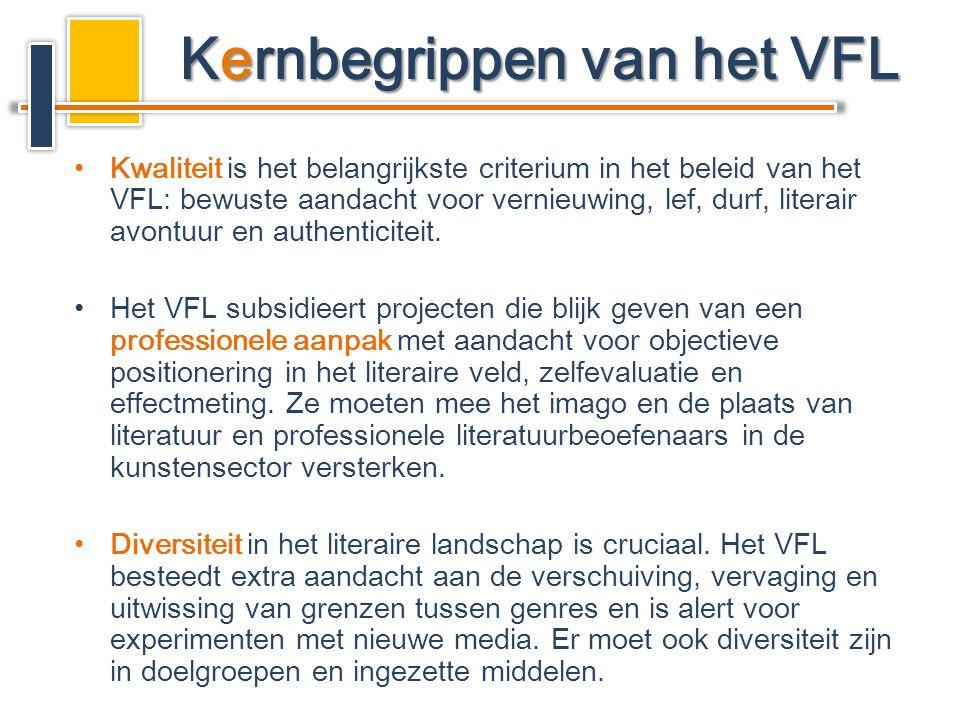 •Kwaliteit is het belangrijkste criterium in het beleid van het VFL: bewuste aandacht voor vernieuwing, lef, durf, literair avontuur en authenticiteit.
