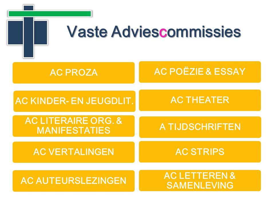 Vaste Adviescommissies AC PROZAAC POËZIE & ESSAYAC THEATER AC LITERAIRE ORG.