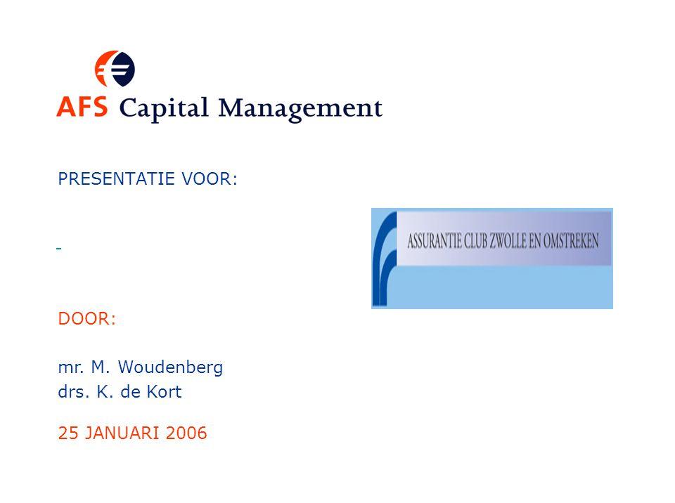 PRESENTATIE VOOR: 25 JANUARI 2006 DOOR: mr. M. Woudenberg drs. K. de Kort