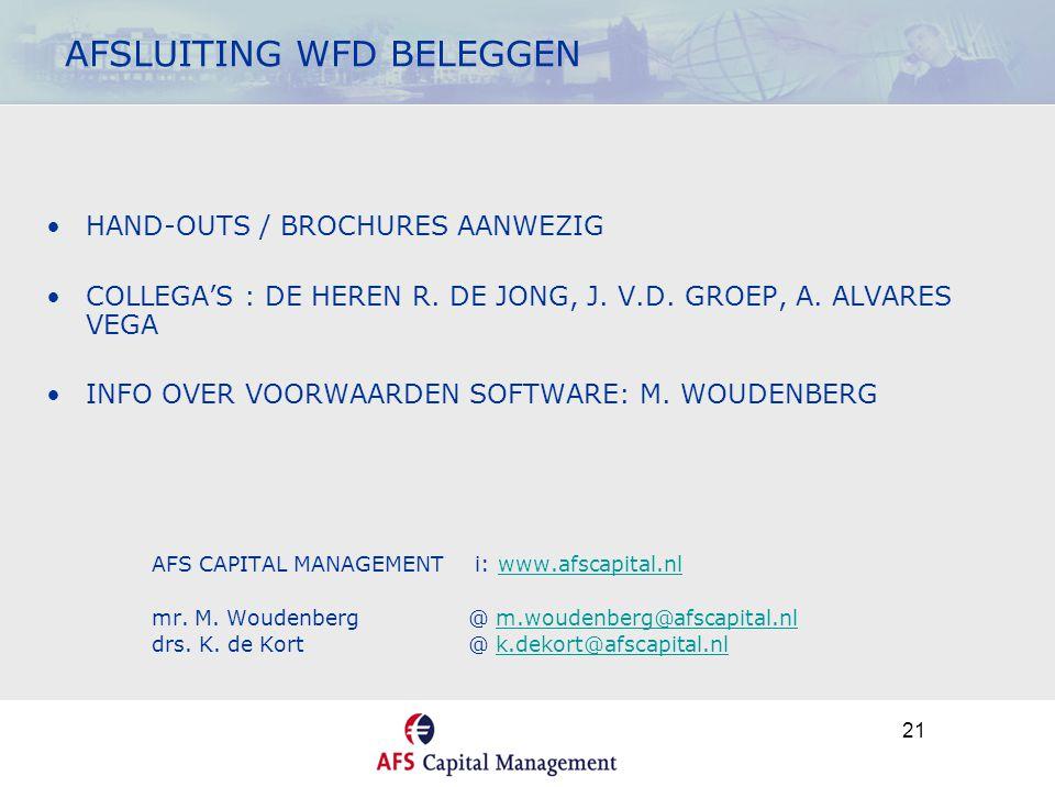 21 AFSLUITING WFD BELEGGEN •HAND-OUTS / BROCHURES AANWEZIG •COLLEGA'S : DE HEREN R. DE JONG, J. V.D. GROEP, A. ALVARES VEGA •INFO OVER VOORWAARDEN SOF