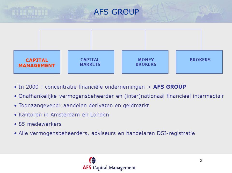 4 AFS CAPITAL MANAGEMENT (I) DIENSTVERLENING MULTI FUND MANAGEMENT (vanaf € 50.000,=) • DATABASE : > 55.000 BELEGGINGSFONDSEN • BRON: MORNINGSTAR • AFS-SELECTIE(O.A.): MANAGEMENT / STIJL / KOSTEN