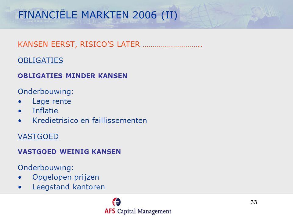 33 FINANCIËLE MARKTEN 2006 (II) KANSEN EERST, RISICO'S LATER ……………………….. OBLIGATIES OBLIGATIES MINDER KANSEN Onderbouwing: •Lage rente •Inflatie •Kred