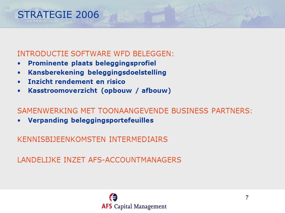 7 STRATEGIE 2006 INTRODUCTIE SOFTWARE WFD BELEGGEN: •Prominente plaats beleggingsprofiel •Kansberekening beleggingsdoelstelling •Inzicht rendement en