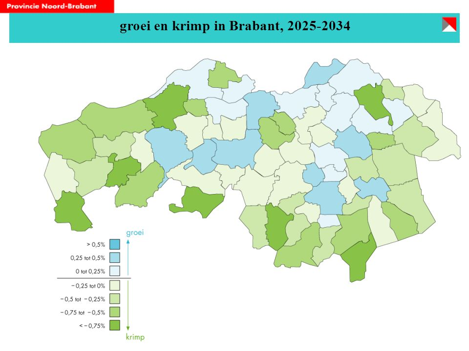 groei en krimp in Brabant, 2025-2034