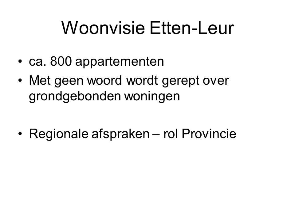 Woonvisie Etten-Leur •ca. 800 appartementen •Met geen woord wordt gerept over grondgebonden woningen •Regionale afspraken – rol Provincie