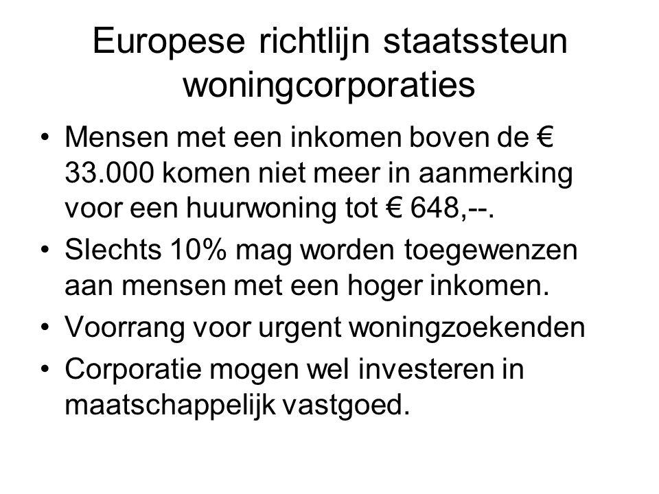 Europese richtlijn staatssteun woningcorporaties •Mensen met een inkomen boven de € 33.000 komen niet meer in aanmerking voor een huurwoning tot € 648,--.