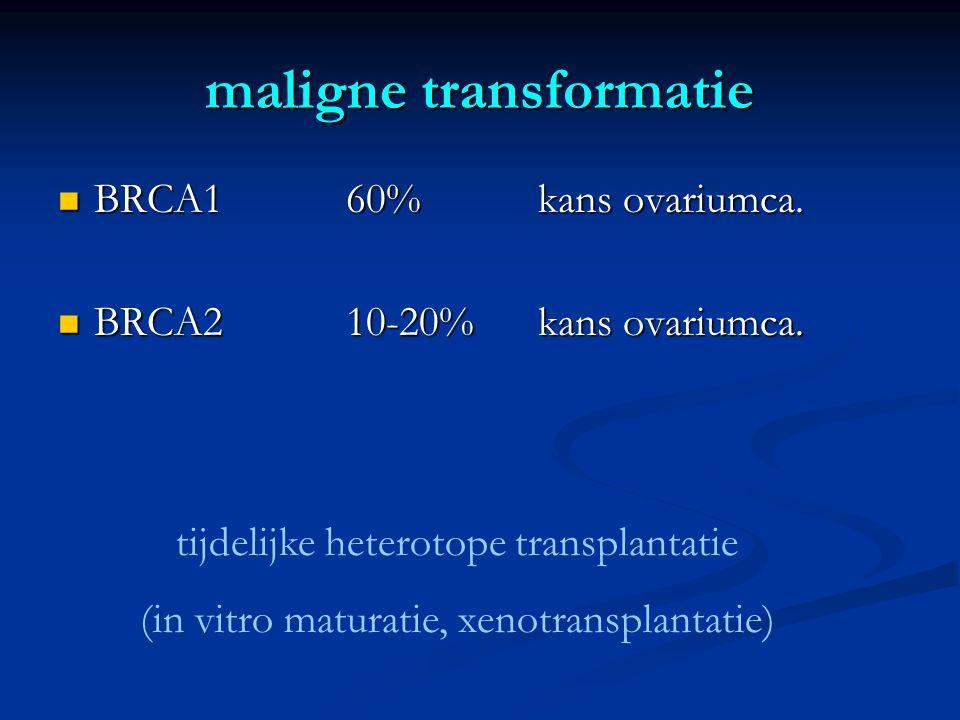 maligne transformatie  BRCA160% kans ovariumca. BRCA210-20%kans ovariumca.