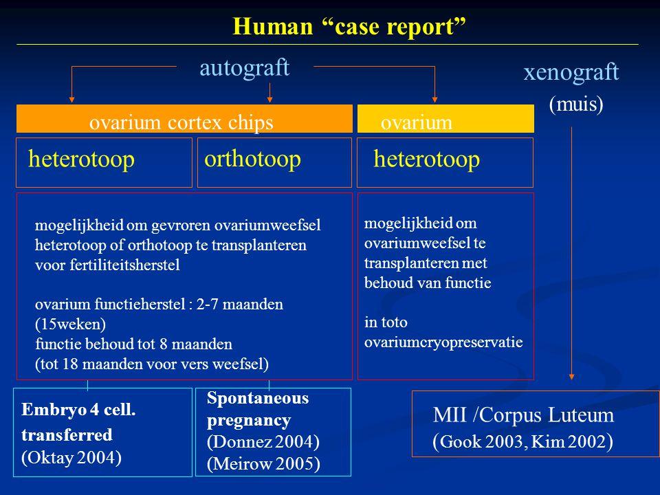 xenograft (muis) autograft heterotoop orthotoop MII /Corpus Luteum ( Gook 2003, Kim 2002 ) Embryo 4 cell.