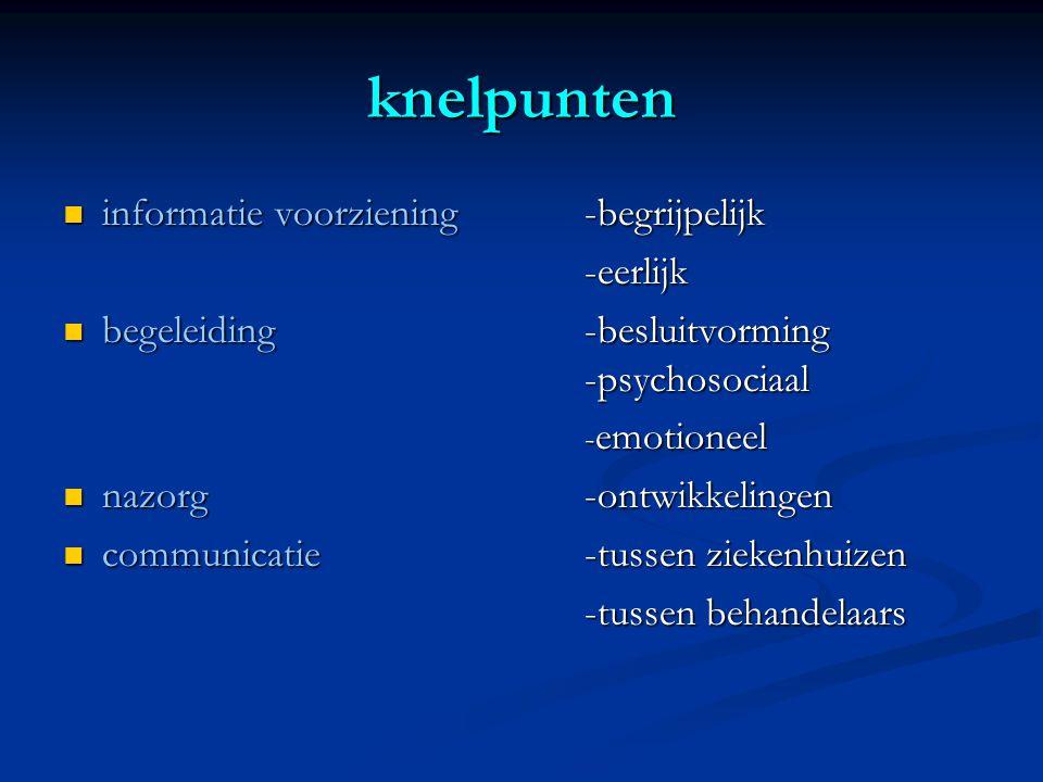 knelpunten  informatie voorziening-begrijpelijk -eerlijk  begeleiding -besluitvorming -psychosociaal - emotioneel  nazorg -ontwikkelingen  communicatie-tussen ziekenhuizen -tussen behandelaars