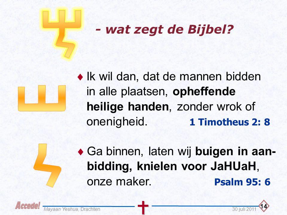 14 30 juli 2011Mayaan Yeshua, Drachten - wat zegt de Bijbel?  Ik wil dan, dat de mannen bidden in alle plaatsen, opheffende heilige handen, zonder wr