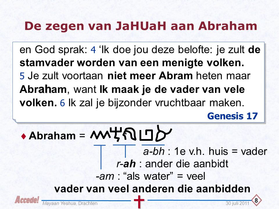 9 30 juli 2011Mayaan Yeshua, Drachten De zegen van JaHUaH aan Abraham 6 b Er zullen veel volken uit je voortkomen en on- der je nazaten zullen koningen zijn.