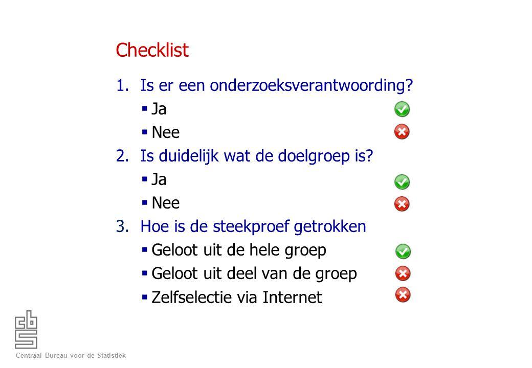 Centraal Bureau voor de Statistiek Checklist 1.Is er een onderzoeksverantwoording?  Ja  Nee 2.Is duidelijk wat de doelgroep is?  Ja  Nee 3.Hoe is