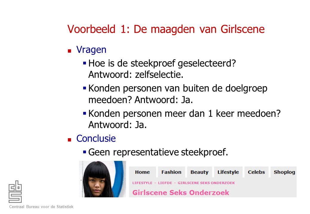 Centraal Bureau voor de Statistiek Voorbeeld 1: De maagden van Girlscene n Vragen  Hoe is de steekproef geselecteerd? Antwoord: zelfselectie.  Konde