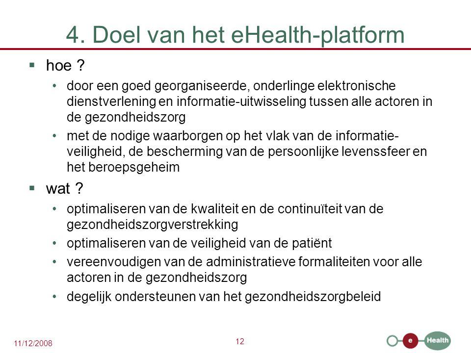 12 11/12/2008 4. Doel van het eHealth-platform  hoe ? •door een goed georganiseerde, onderlinge elektronische dienstverlening en informatie-uitwissel