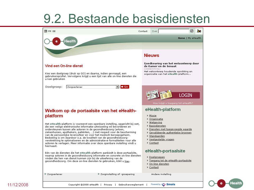 30 11/12/2008 9.2. Bestaande basisdiensten
