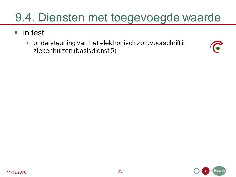 35 11/12/2008 9.4. Diensten met toegevoegde waarde  in test •ondersteuning van het elektronisch zorgvoorschrift in ziekenhuizen (basisdienst 5)