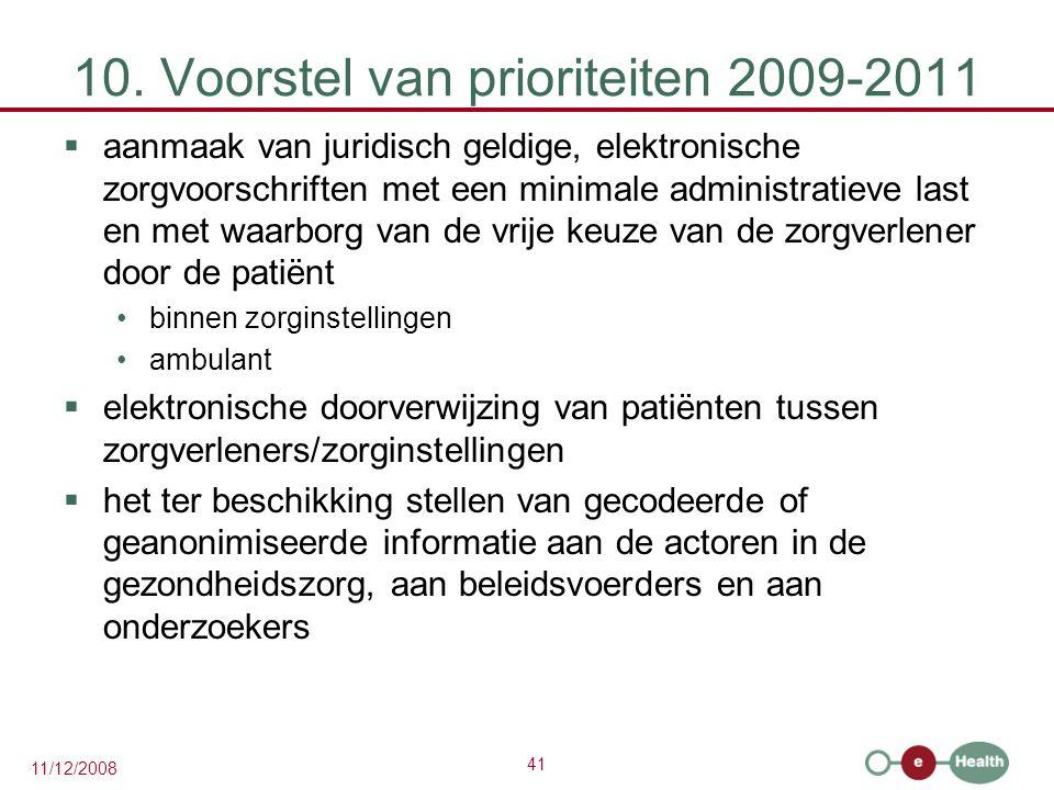 41 11/12/2008 10. Voorstel van prioriteiten 2009-2011  aanmaak van juridisch geldige, elektronische zorgvoorschriften met een minimale administratiev