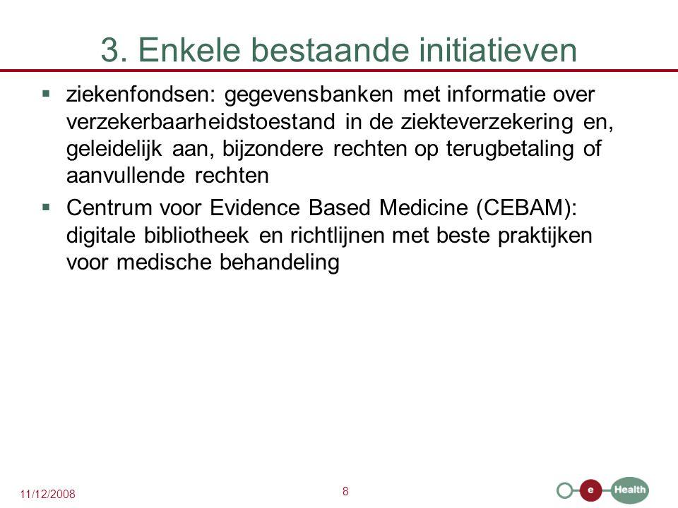8 11/12/2008 3. Enkele bestaande initiatieven  ziekenfondsen: gegevensbanken met informatie over verzekerbaarheidstoestand in de ziekteverzekering en