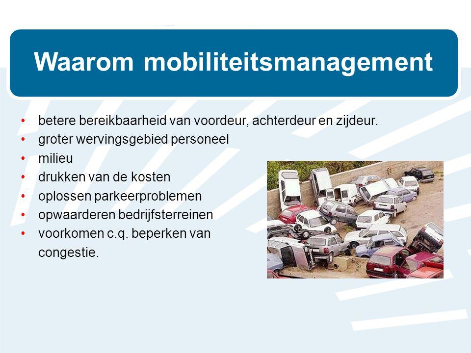 Waarom mobiliteitsmanagement •betere bereikbaarheid van voordeur, achterdeur en zijdeur.