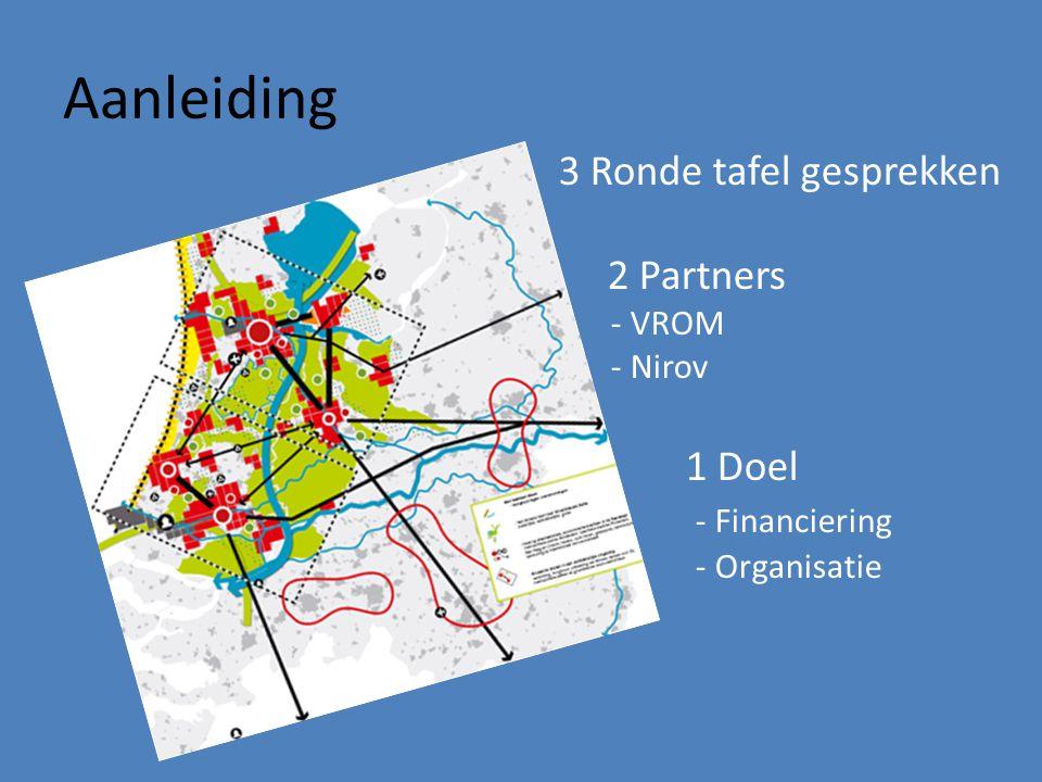 Aanleiding 3 Ronde tafel gesprekken 2 Partners - VROM - Nirov 1 Doel - Financiering - Organisatie